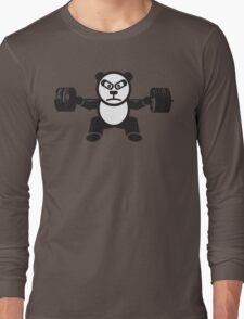 Cute Weightlifting Panda Bear (Squat) Long Sleeve T-Shirt