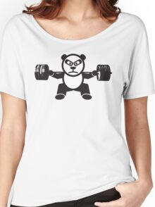 Cute Weightlifting Panda Bear (Squat) Women's Relaxed Fit T-Shirt