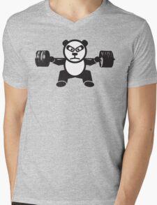 Cute Weightlifting Panda Bear (Squat) Mens V-Neck T-Shirt