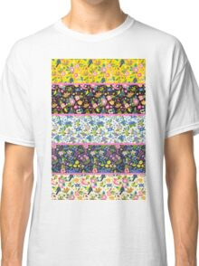 Pretty Folk Art Floral Stripes with Pink Detail Classic T-Shirt
