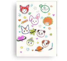 Chibi animals  Metal Print
