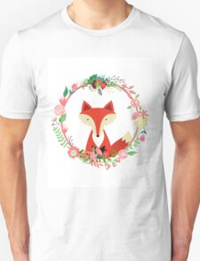 Floral Fox Design Unisex T-Shirt