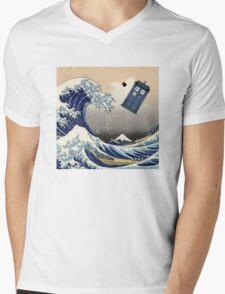 TARDIS at Kanagawa Mens V-Neck T-Shirt