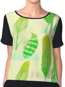 Lime Feathers Chiffon Top