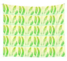 Lime Feathers Wall Tapestry
