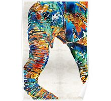Colorful Elephant Art by Sharon Cummings Poster