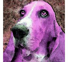 Basset Hound - Pop Art Pink Photographic Print