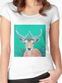 Reindeer for Christmas Women's Fitted Scoop T-Shirt