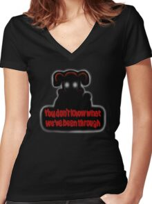 FNAF Sister Location Baby You don't know what we've been through Women's Fitted V-Neck T-Shirt