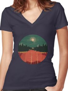 Midday Mountains Women's Fitted V-Neck T-Shirt