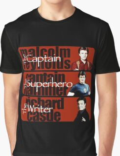 The Captain, The Superhero, and The Writer Graphic T-Shirt