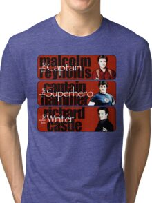 The Captain, The Superhero, and The Writer Tri-blend T-Shirt