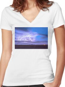 On The Edge Of A Storm Women's Fitted V-Neck T-Shirt