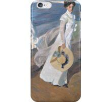 Joaquin Sorolla y Bastida - Strolling along the Seashore 1909 , Fashion , Portrait iPhone Case/Skin