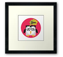 Pixel Penguin - Miss you Framed Print