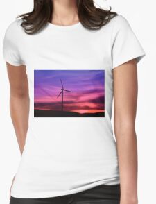 Sunset Windmill Womens Fitted T-Shirt