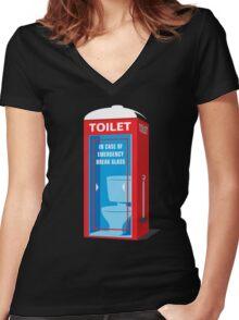 Emergency Toilet Women's Fitted V-Neck T-Shirt