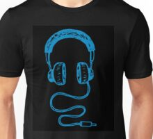Blue Headphones Unisex T-Shirt