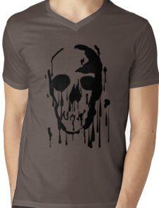 Splatter Skull (black) Mens V-Neck T-Shirt