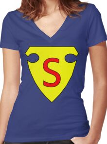 First Superhero Symbol Women's Fitted V-Neck T-Shirt