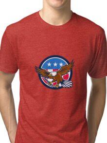 American Eagle Clutching Towing J Hook USA Flag Circle Retro Tri-blend T-Shirt