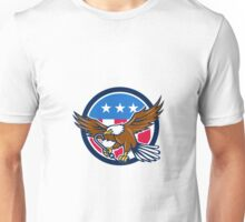 American Eagle Clutching Towing J Hook USA Flag Circle Retro Unisex T-Shirt