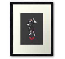 Captain Falcon Black/White - Super Smash Brothers Framed Print