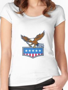 American Eagle Towing J Hook USA Flag Retro Women's Fitted Scoop T-Shirt