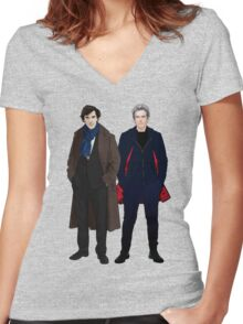 Sherlock and The Doctor Women's Fitted V-Neck T-Shirt