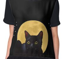 Cat And The Moon, A Night Watcher Chiffon Top