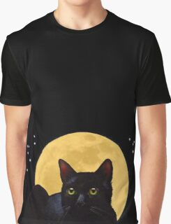 Cat And The Moon, A Night Watcher Graphic T-Shirt