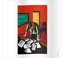 Depressed Female School Teacher Classroom Woodcut Poster