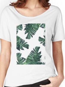 Banana Leaf #Watercolor Pattern #redbubble Women's Relaxed Fit T-Shirt