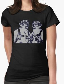 Space Cats And The Moon Womens Fitted T-Shirt
