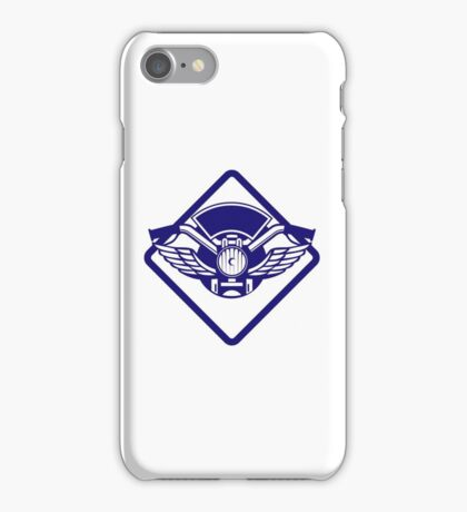 Motorbike Handlebar Headlamp Wings Diamond Retro iPhone Case/Skin