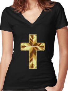 Gold Cross Women's Fitted V-Neck T-Shirt
