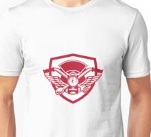 Crossed Spoon and Fork Handlebar Headlamp Crest Retro Unisex T-Shirt