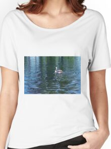 Swan in the water in the park. Women's Relaxed Fit T-Shirt