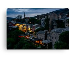 Night Mostar city landscape view Canvas Print