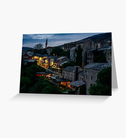 Night Mostar city landscape view Greeting Card