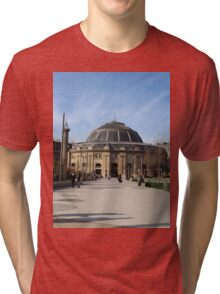 A Large European Building On A Sunny Day Tri-blend T-Shirt