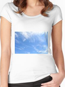 Beautiful blue sky with white clouds. Women's Fitted Scoop T-Shirt