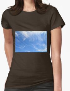 Beautiful blue sky with white clouds. Womens Fitted T-Shirt