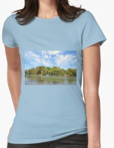 Park scenery with dramatic sky and trees by the river. Womens Fitted T-Shirt