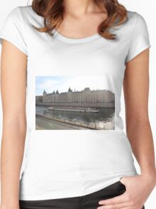 A Boat On The River Seine Women's Fitted Scoop T-Shirt