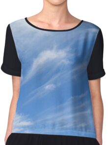 Beautiful blue sky with white clouds. Chiffon Top