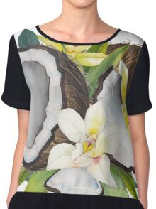 Watercolor vanillla flowers and coconut Chiffon Top