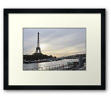 Eiffel Tower With A Sunset Landscape Framed Print