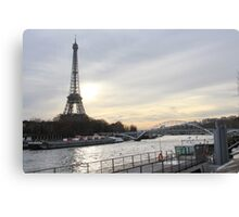 Eiffel Tower With A Sunset Landscape Canvas Print