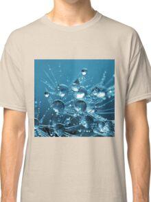 Blue Water Drops Droplets on Dandelion Flower Classic T-Shirt